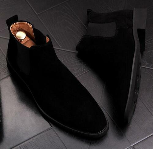 British Mens Suede Chelsea Ankle Boots Pointy Toe Pull On Casual High Top Shoes