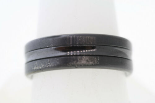 Forge Black 7.5m Titanium Polished Grooved /& Concave Center Stripe Band Ring