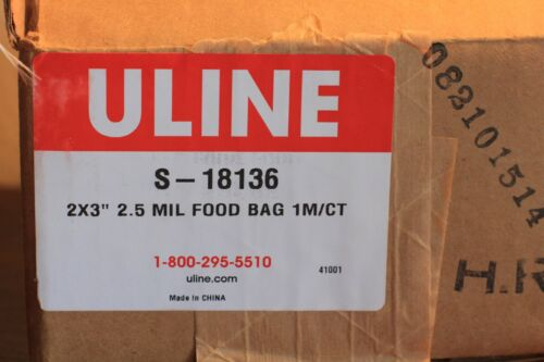 """100X ULINE S-18136 Flat Silver  Food Bags Food Bags Open End 2 x 3/"""""""