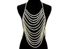 GLAM Statement Gold Pearl  Necklace Body Chain  - Commissions By Rocks Boutique