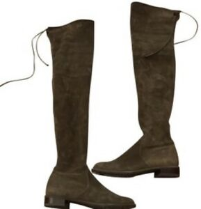 bbe760ad5d8 Image is loading STUART-WEITZMAN-Kneezie-Olive-Stretch-Suede-Leather-Below-