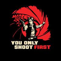 Star Wars Han Solo Millennium Falcon James Bond 007 Limited Ed Mens T-shirt M-2x
