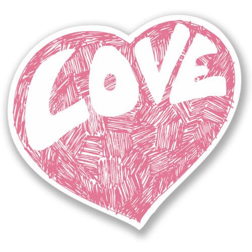2 x Cute Love Heart Sticker Car Bike iPad Laptop Helmet Guitar Girls Pink #4163