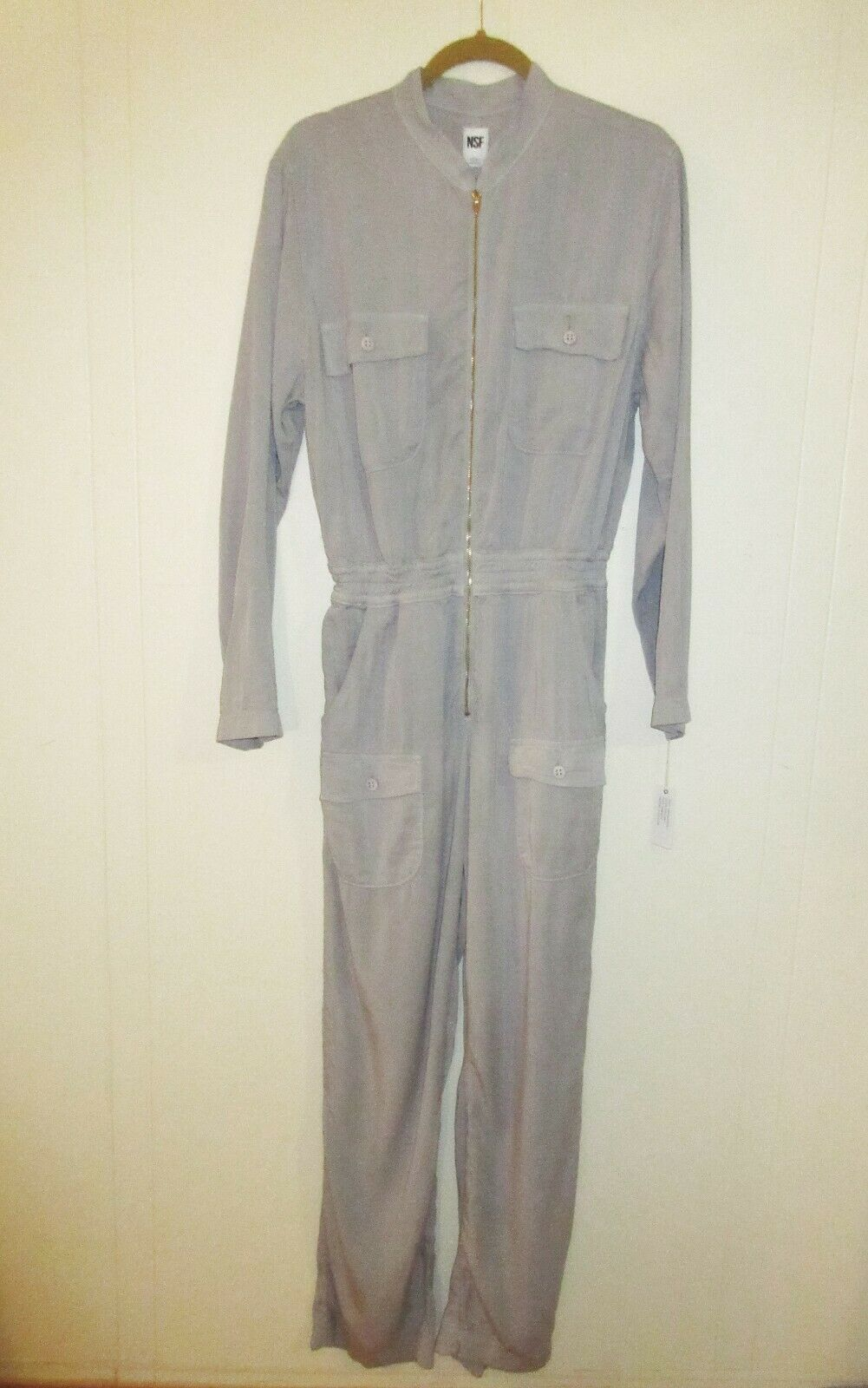 NSF Shell Grey Cotton Zip Front JUMPSUIT Small NWT