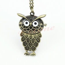Cute Vintage Bronze Owl Pendant Steampunk Taschenuhr Necklace Chain Pocket Watch