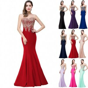 Long-Evening-Formal-Party-Dress-Prom-Ball-Gown-Bridesmaid-Mermaid-Applique-New