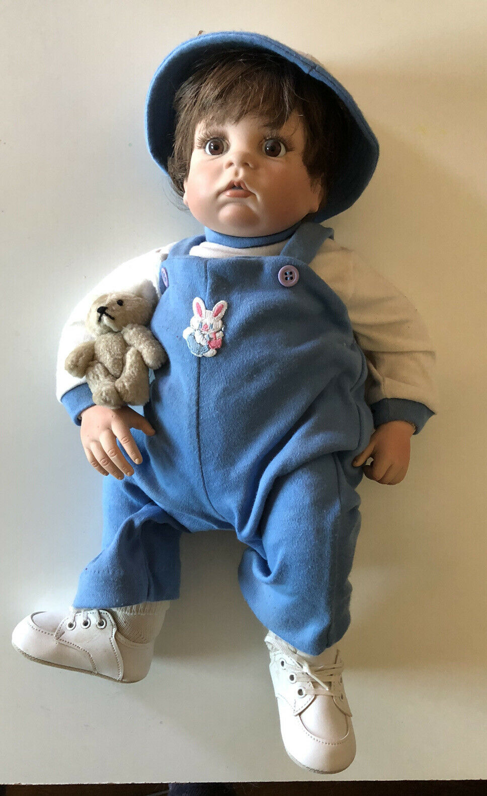 Boots Tyner 1987 Gumdrop Boy Heavy Weighted Baby Doll Blue Clothes