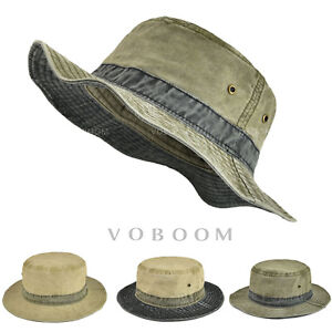 f1e6cf716 Details about Retro Washing Cotton Bucket Hat Boonie Hunting Fishing  Outdoor Cap Sun Hats