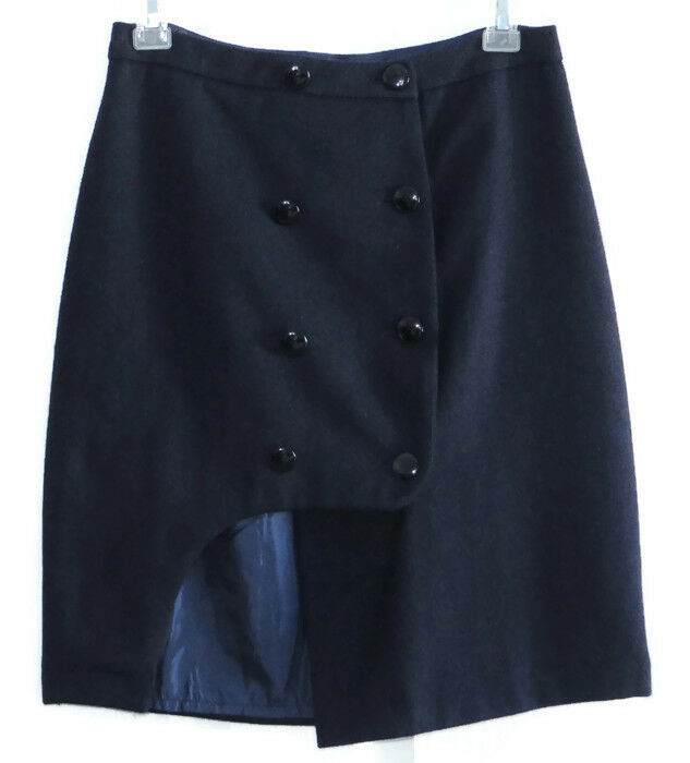 Kling Womens Warren Mini Skirt 2 Navy bluee Wool Lined Asymmetrical Hem New