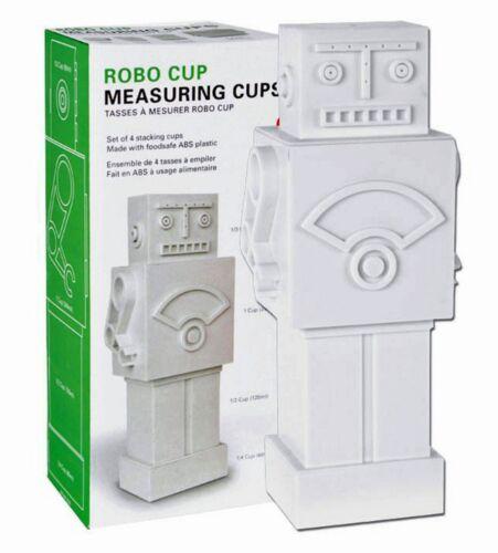 Set of 4 Plastic Colourful Robot Built Measuring Cups Kitchen Utensil Baking Kit