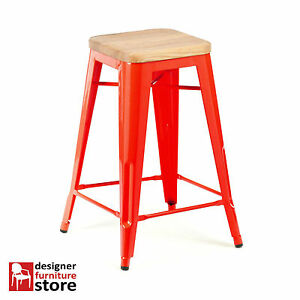 Replica-Xavier-Pauchard-Tolix-Metal-Stool-66cm-3cm-Oak-Wood-Seat-Red