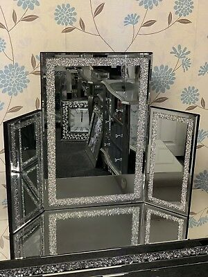 Silver Glitter Freestanding   Dressing Table Mirror