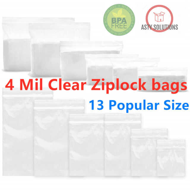 "Large Zip Lock Bags 12/"" x 15/"" 4 Mil Poly Jewelry Zipper Baggies 500 Pcs"