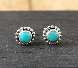Sterling-Silver-Turquoise-Stud-Earrings-Blue-Green-Turquoise-Stone-Minimalist