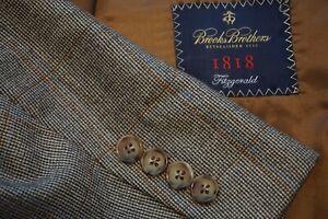 Brooks-Brothers-Fitzgerald-Brown-Blue-Orange-Plaid-Wool-Sport-Coat-Jacket-Sz-48R