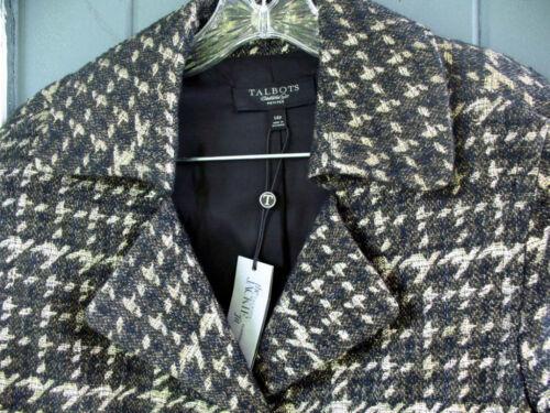 Talbots Black Gold Metallic Houndstooth Plaid Jacket Blazer 16 4P NWT Wool Blend
