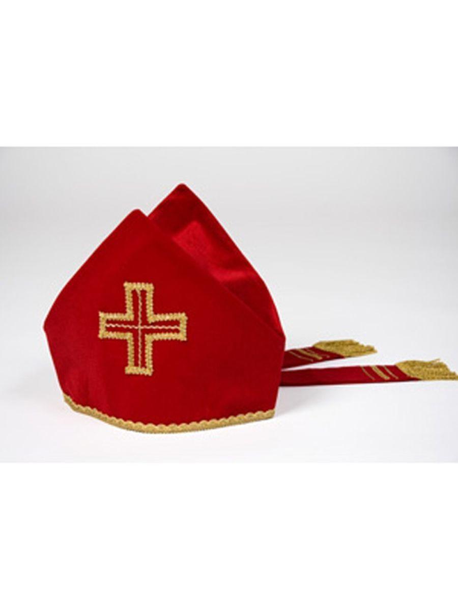 Bischofsmütze Mitra mit Bändern Samt Karneval Kostüm    Haltbarkeit    Kaufen    Schön    Exquisite (in) Verarbeitung    Verkauf