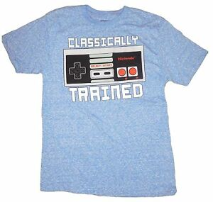 Nintendo-Classically-Trained-Men-039-s-Graphic-T-Shirt-Game-Top-Blue-Anime-Fashion