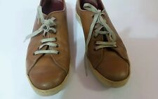 Salvatore Ferragamo womens Leather Camel brown lace up sneakers shoes Size 8.5