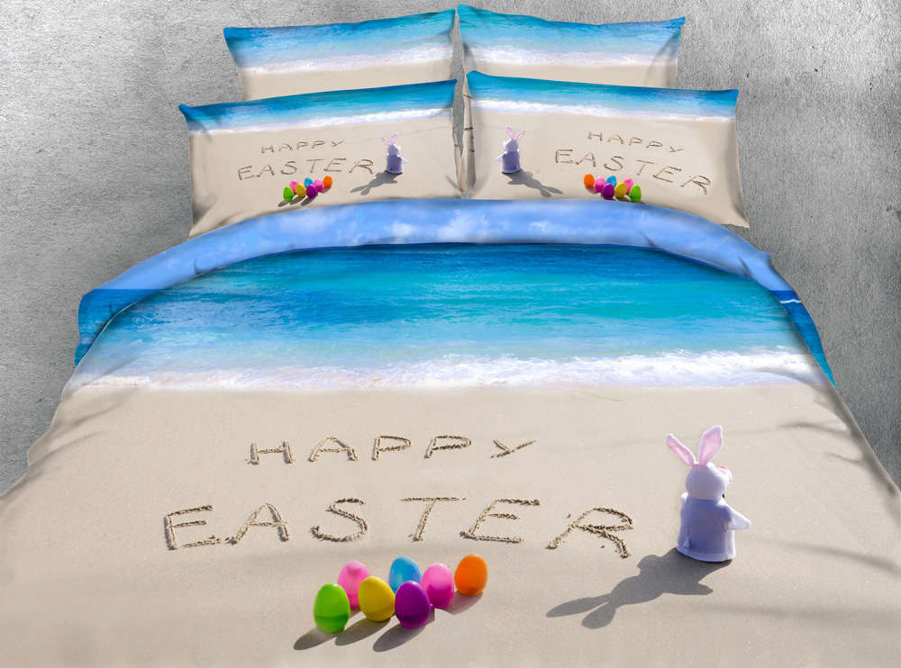 Happy Easter Sea 3D Druckening Duvet Quilt Will Startseites Pillow Case Bettding Sets