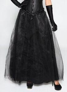 Long-Maxi-Length-Black-Tulle-Formal-Skirt-Size-O-S-8-12-amp-XL-14-16