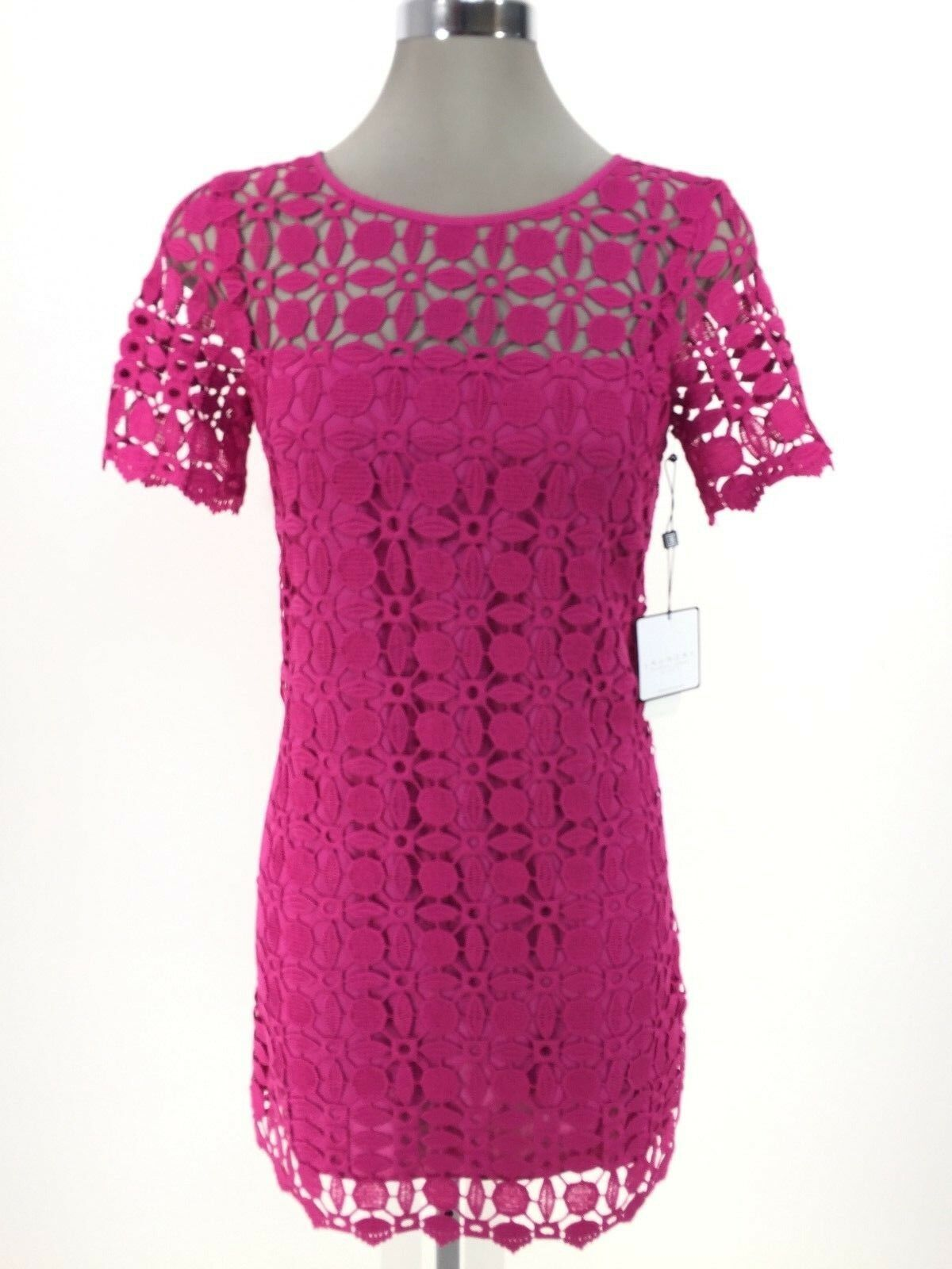 Laundry by Shelli Segal NWT Modern VERY BERRY  Lace Shift Dress, size 0 2 6
