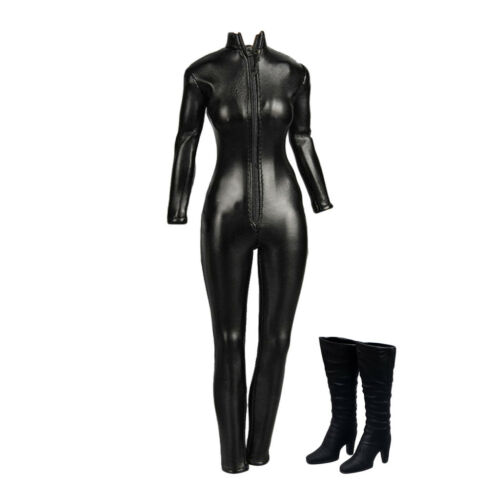 1//6 Female Boots High Heel PU Leather Jumpsuit for 12/'/' Hot Catwoman Figure