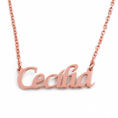 High Quality Christmas 18ct Rose Gold Plated Name Necklace EVA Xmas Gifts