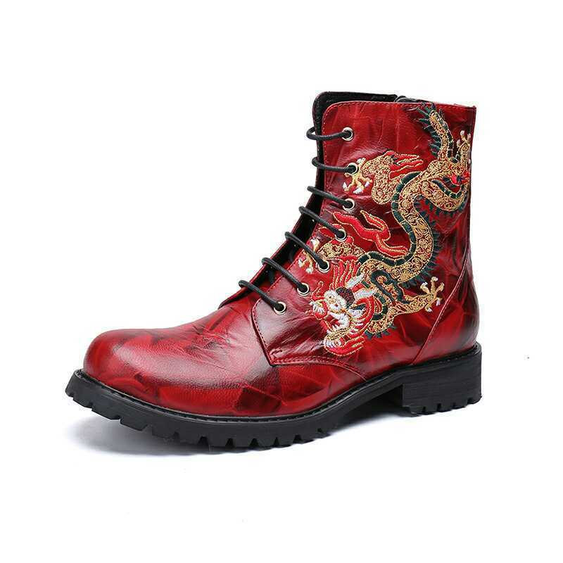 Mens Dragon Embroidery Lace Up Leather Motorcycle Ankle Combat Boots shoes Hot