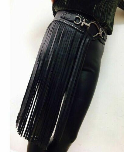 Ladies Gothic PU Faux Leather Belt Corset Waistbands Punk Fringe Tassel Faddish