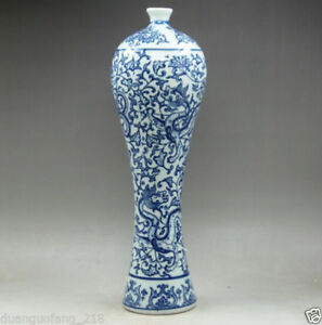 Rare-12-5-inches-Chinese-Blue-and-white-Porcelain-Handwork-Painting-Dragon-Vase