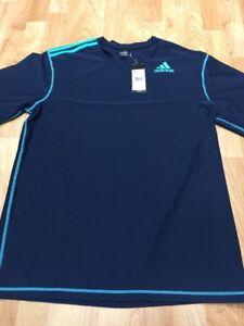 26594e71b3203 Men s Navy Blue Adidas Swim T Shirt SPF 30 Nylon Stretch Workout ...