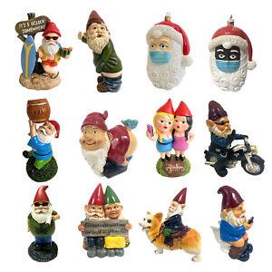 Funny Resin Naughty Garden Gnome Statue Ornaments Villa Home Figurines Decor