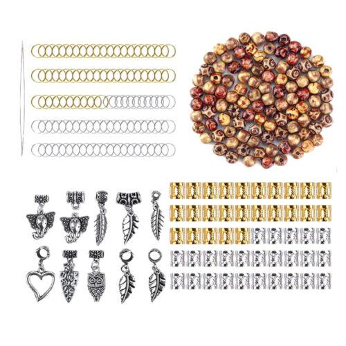 300 Stück Metallperle Spacer Charms Dreadlocks Perlen Holzperlen Flechten