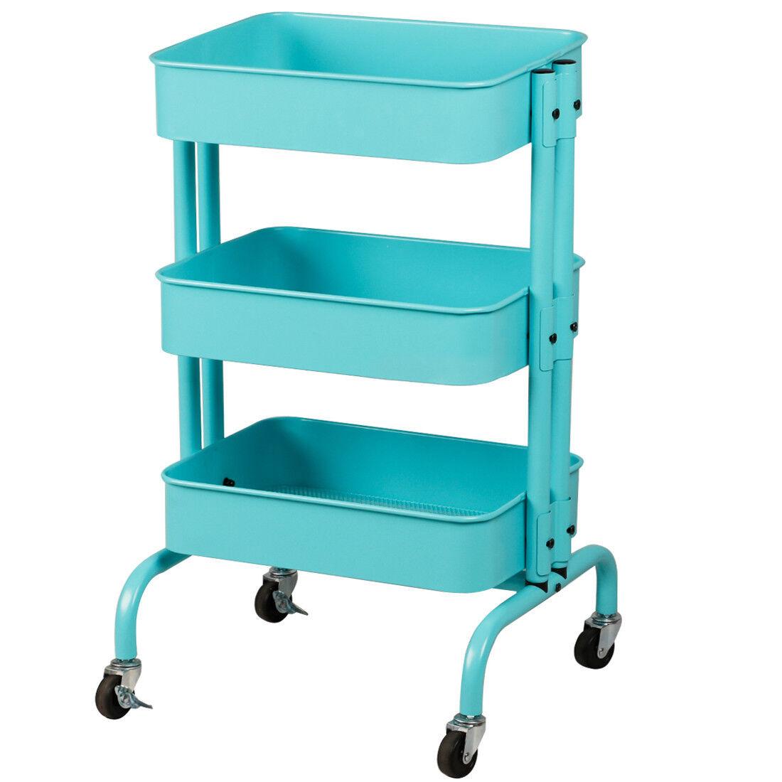 Kitchen Bedroom Bathroom Trolley 3 Tier Storage With Wheels | eBay