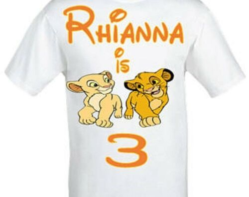 Simba and Narla Birthday T-shirt-Personalised The Lion King birthday t-shirt