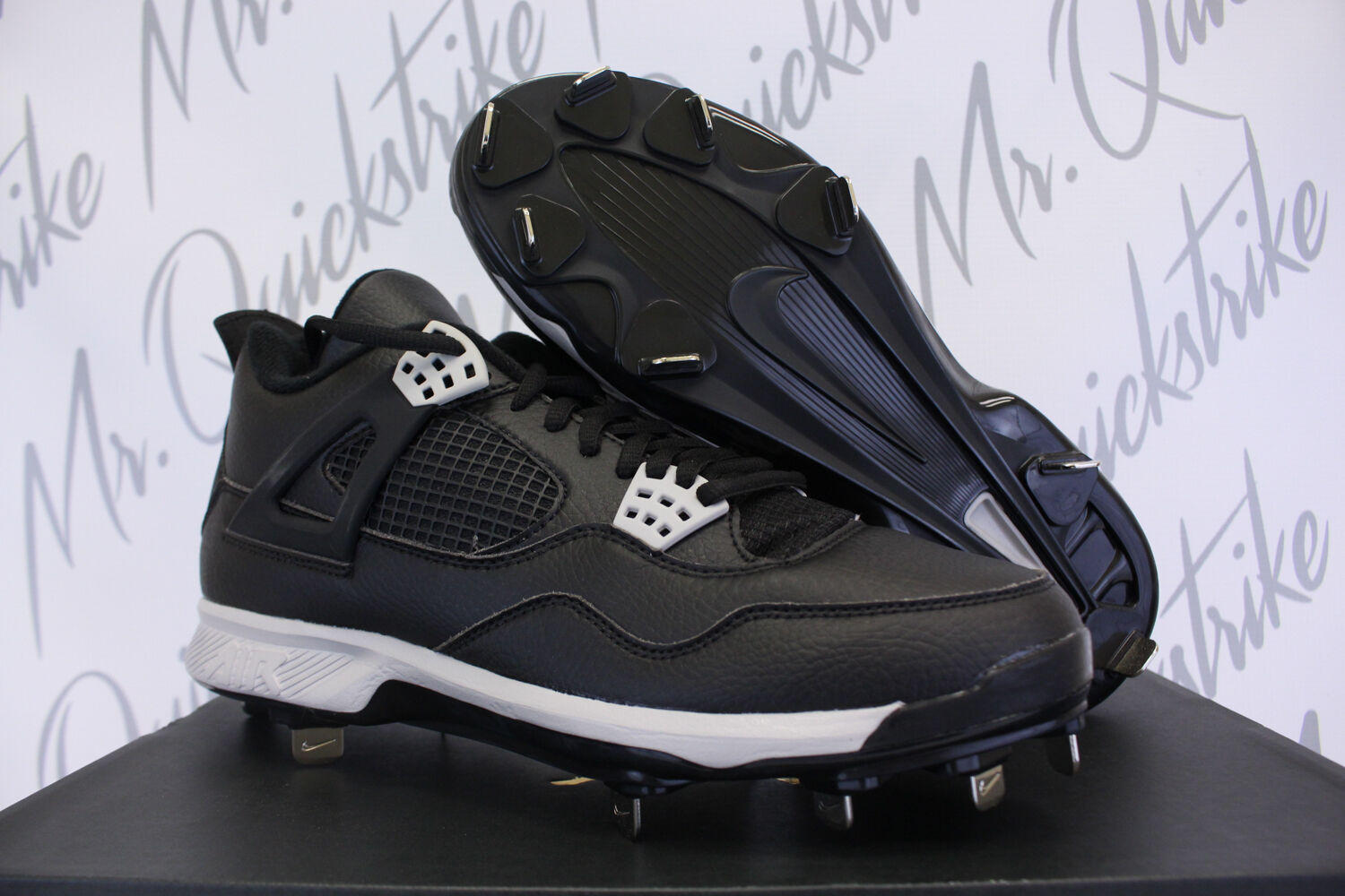 AIR JORDAN IV RETRO 4 CLEATS SZ 8.5 schwarz TECH grau 807710 010