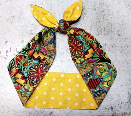 psychedelic yellow polka dots dolly bow rockabilly head scarf hair wrap bandana