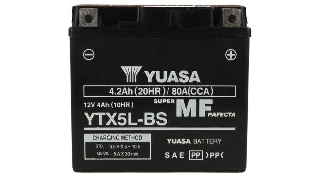 Batteria Moto YUASA YTX5L-BS Con Acido 12V 4,2Ah 80A Honda Aprilia Scarabeo