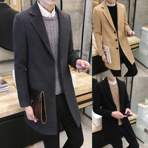 e16edcf4754d Image is loading Men-Fitted-Formal-Trench-Coat-Single-Breasted-Overcoat-
