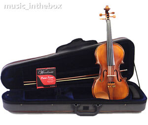 Great-4-4-Antique-Student-Violin-Bow-Shoulder-rest-Foamed-Case-String-Rosin