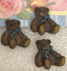 3 Vintage Teddy Bear BUTTONS WOOD Carved SIGNED DM- 98 Hand Painted Collectible