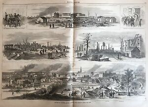 1865 Civil War newspaper Gen WILLIAM SHERMAN BURNS COLUMBIA SC Poster Engraving
