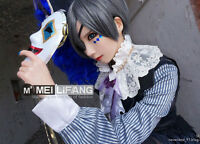 Black Butler Ciel Phantomhive Blue Gray Short Cosplay Wig Free Wig Cap 706