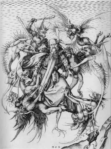 The Temptation of St Anthony 15th Century by Schongauer 7x5 Inch Print