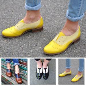 Women-039-s-Retro-Brogues-Wingtip-Round-Toe-Slip-On-Low-Heel-Dress-Oxfords-Shoes