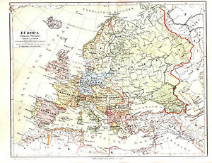 1890 EUROPE Political Survey 19th Century Antique Map | eBay