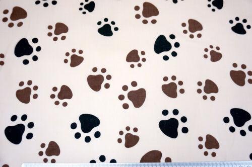 "BROWN DOG PAW ANIMAL PRINT POLY COTTON FABRIC 44/""W CRAFT DECOR LINING"