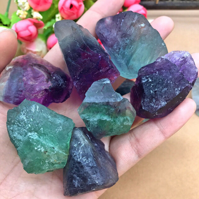 New Natural Fluorite Quartz Crystal Stones Rough Polished Gravel Specimen Hot