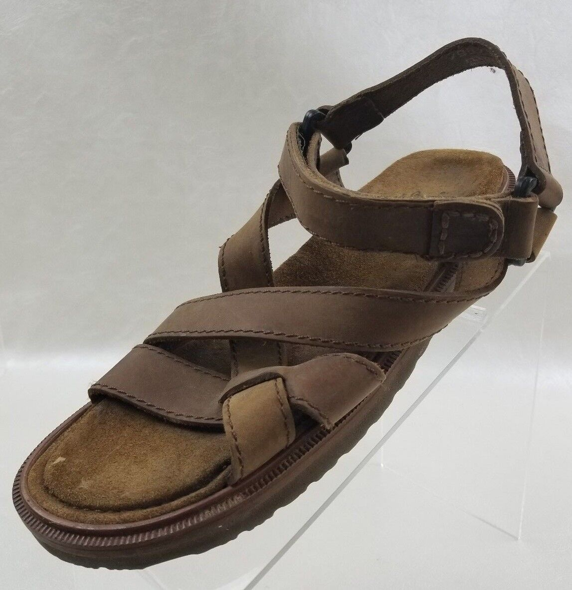 G H Bass Sandals Fisherman Open Toe Mens Brown Leather Slip On shoes Size 9.5M
